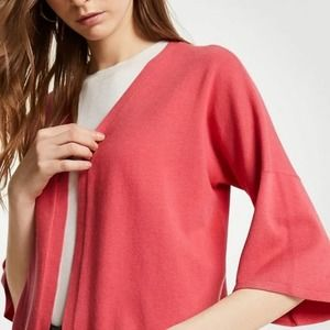 Ann Taylor Coral Bell Sleeve Cardigan